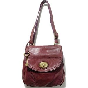 FOSSIL Carson Leather Turnlock Flap Crossbody